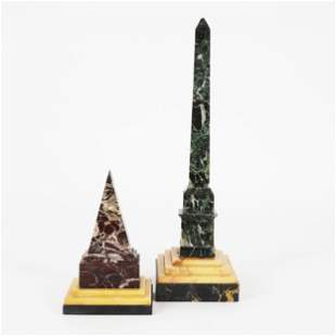 An obelisk and a pyramid in polychrome marbles