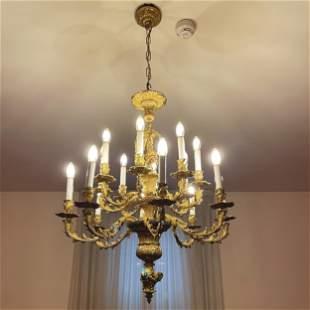 A French 16-light gilt bronze chandelier, 19th century