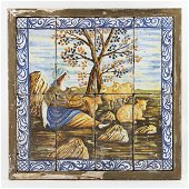 A pair of maiolica large panels