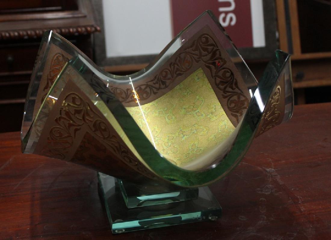 23Kt Gold Leaf & Crystal Vase by Olga P. - 2