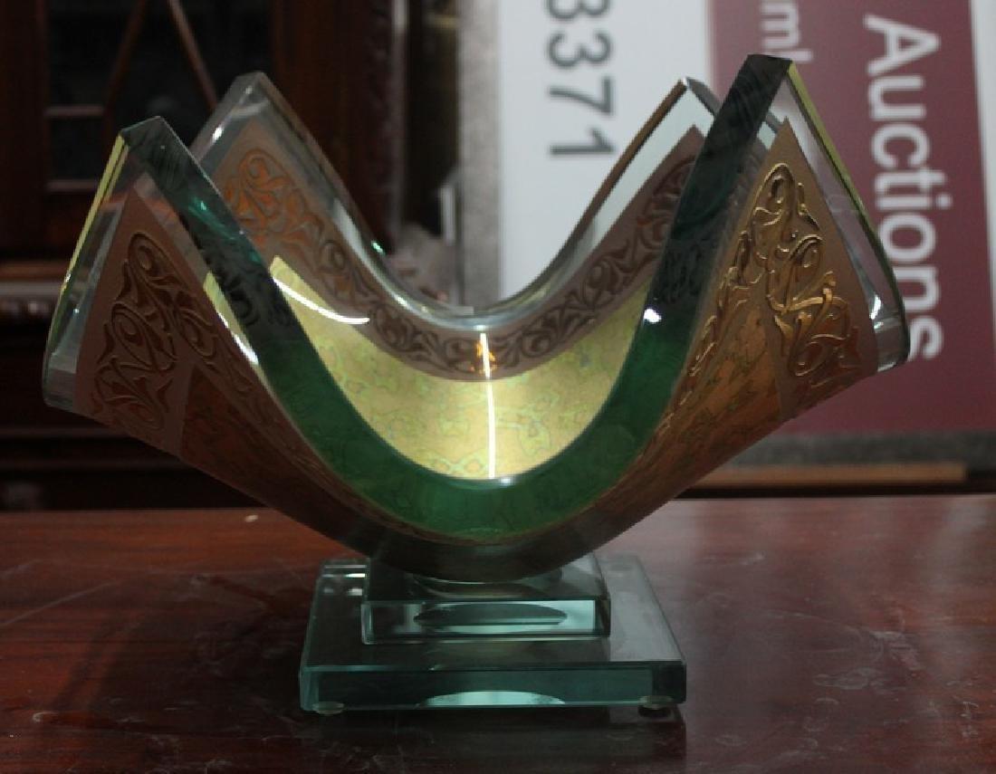 23Kt Gold Leaf & Crystal Vase by Olga P. - 3