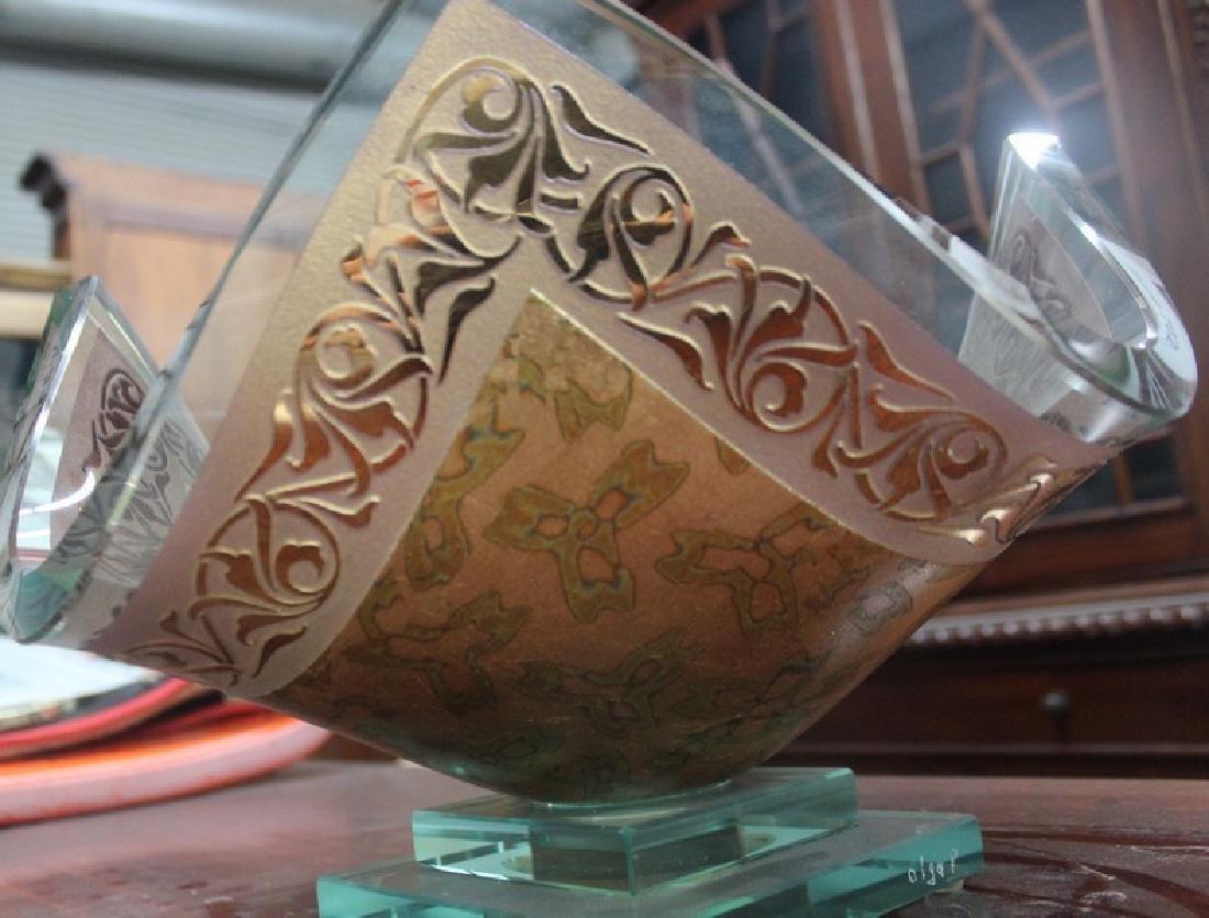 23Kt Gold Leaf & Crystal Vase by Olga P. - 4