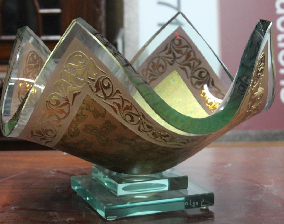 23Kt Gold Leaf & Crystal Vase by Olga P.