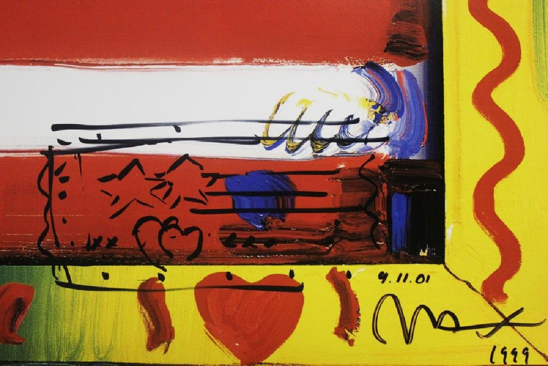Hand Signed Peter Max Mixed Media - Flag with Heart - 3