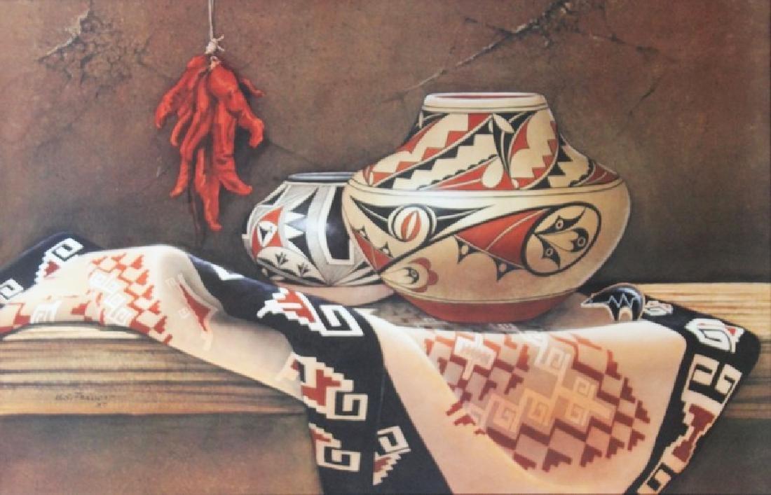 Signed Lithograph Manuel S. Franco - Navajo Blanket