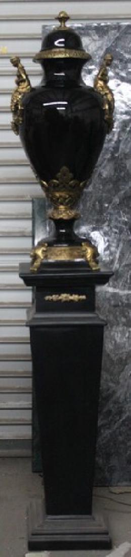 Antique Style Black Vase with Pedestal