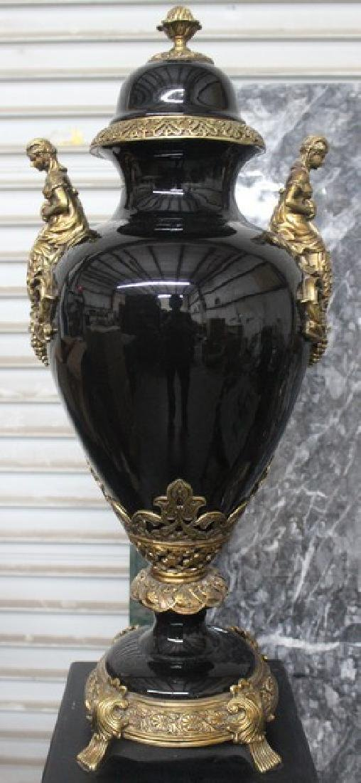 Antique Style Black Vase with Pedestal - 2