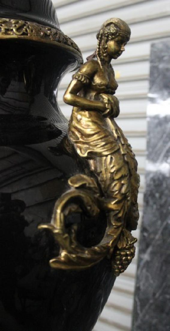 Antique Style Black Vase with Pedestal - 4