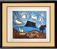 Signed Picasso ORIGINAL Linocut Bacchanale II