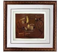 Signed Picasso ORIGINAL Linocut Femme Couche et Homme