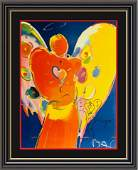 Hand Embeliished, Signed Peter Max Mixed Media