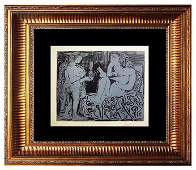 Signed Picasso Original Linocut Deux Femmes