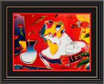 Hand Embeliished Signed Peter Max Mixed Media