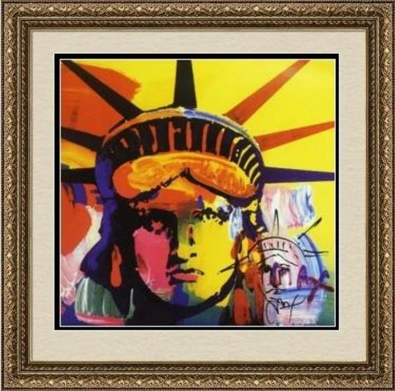 Hand Embeliished, Hand Signed Peter Max Mixed Media -