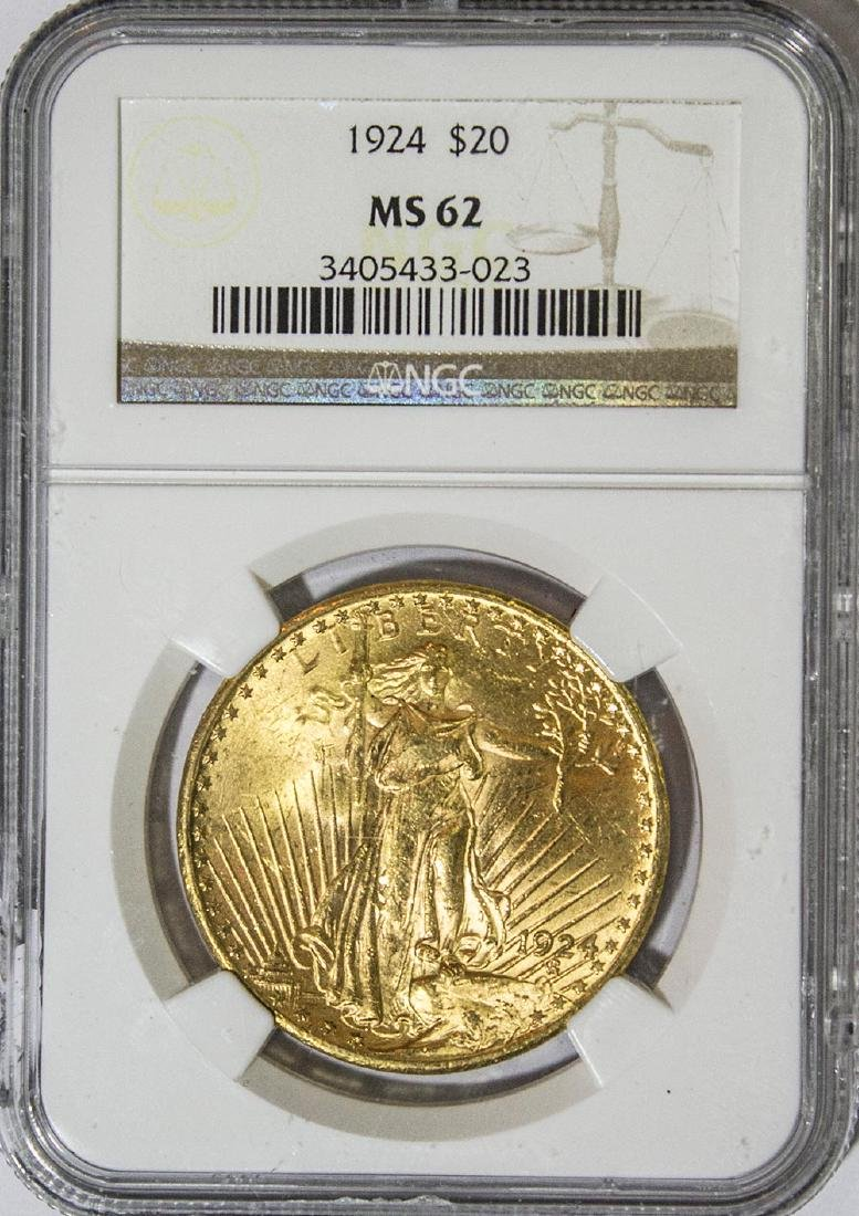 1924 $20 NGC MS62 St. Gaudens Double Eagle Gold Coin