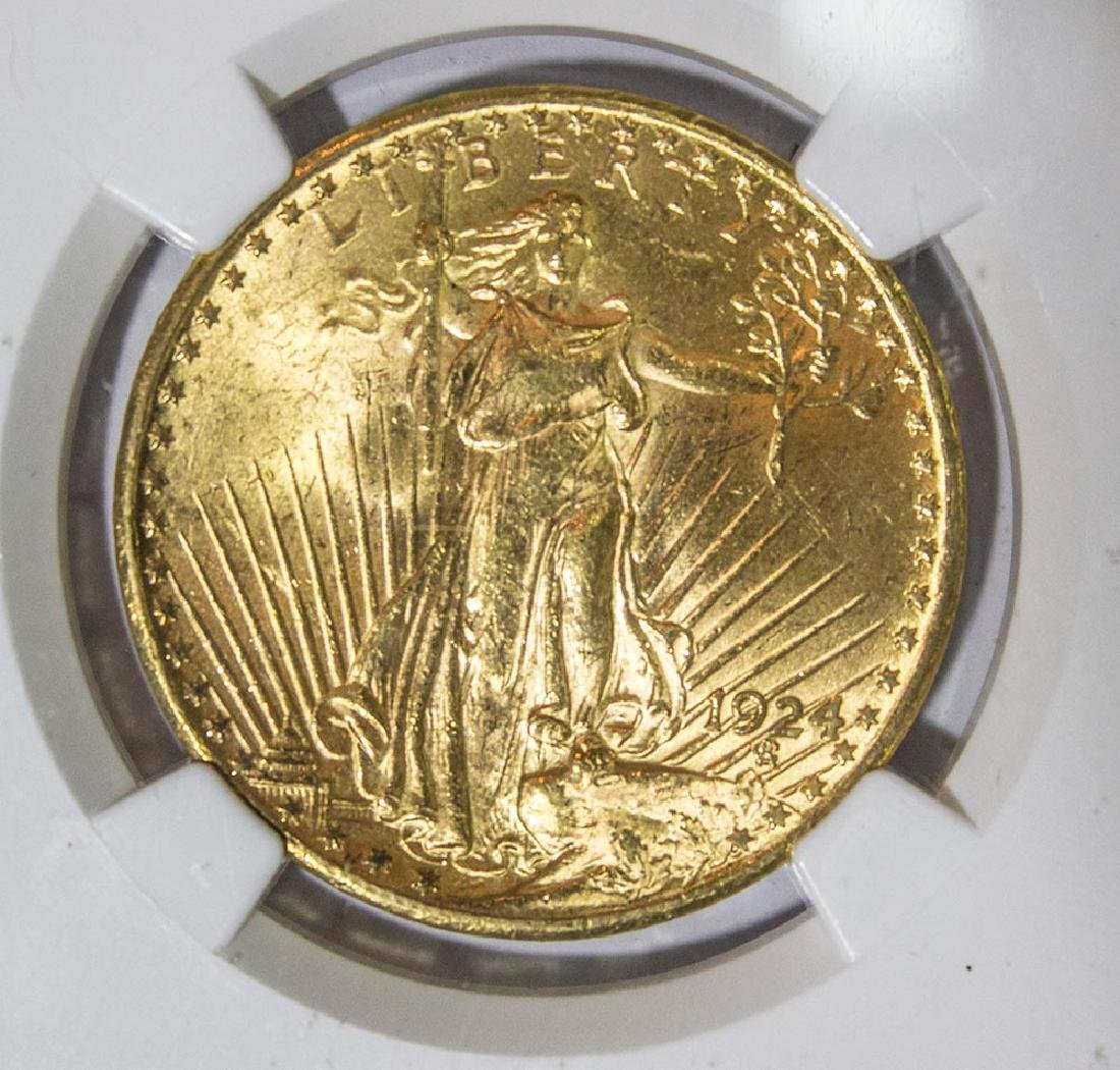 1924 $20 NGC MS62 St. Gaudens Double Eagle Gold Coin - 2