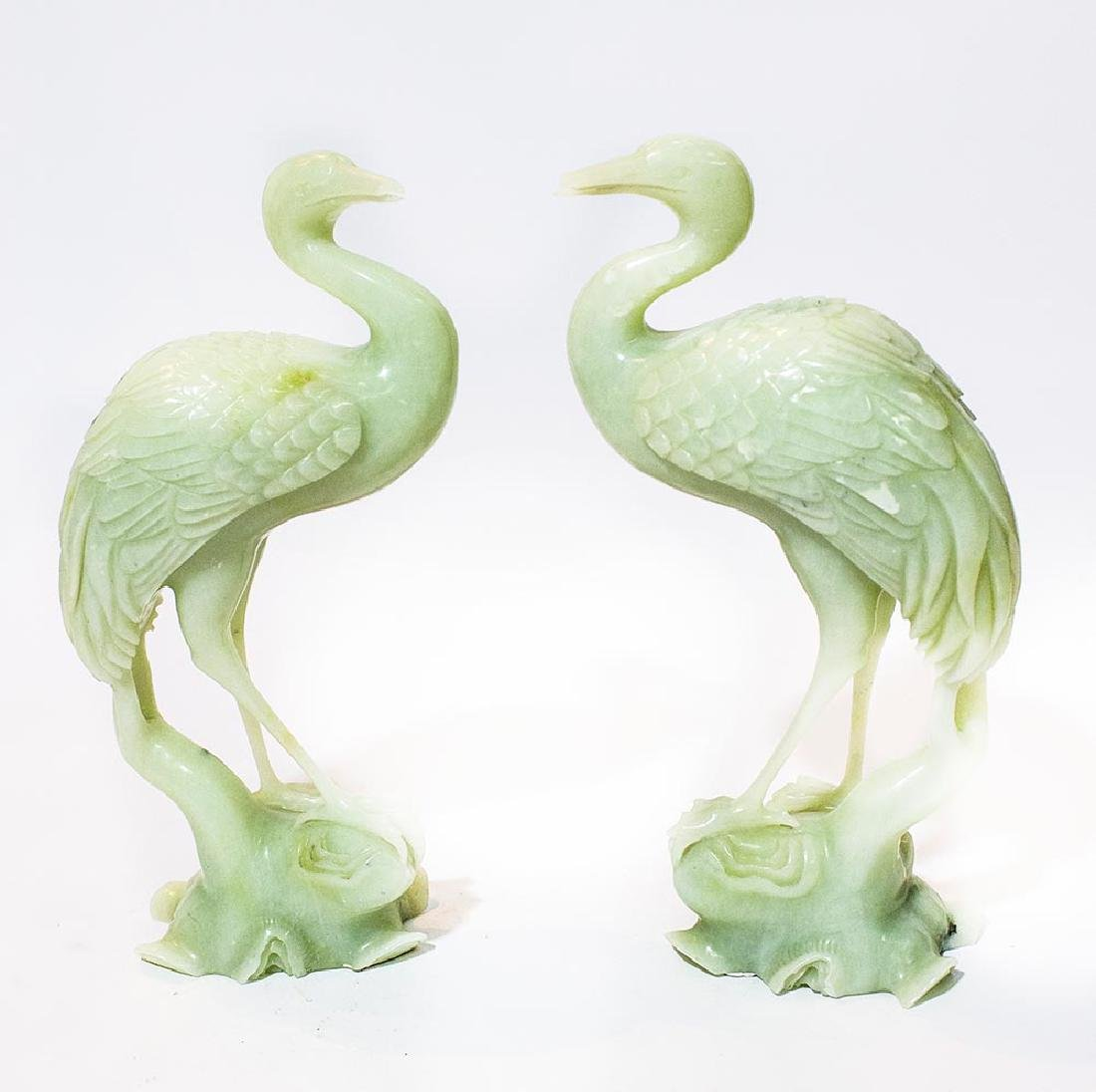 pair of carved Chinese Jade birds