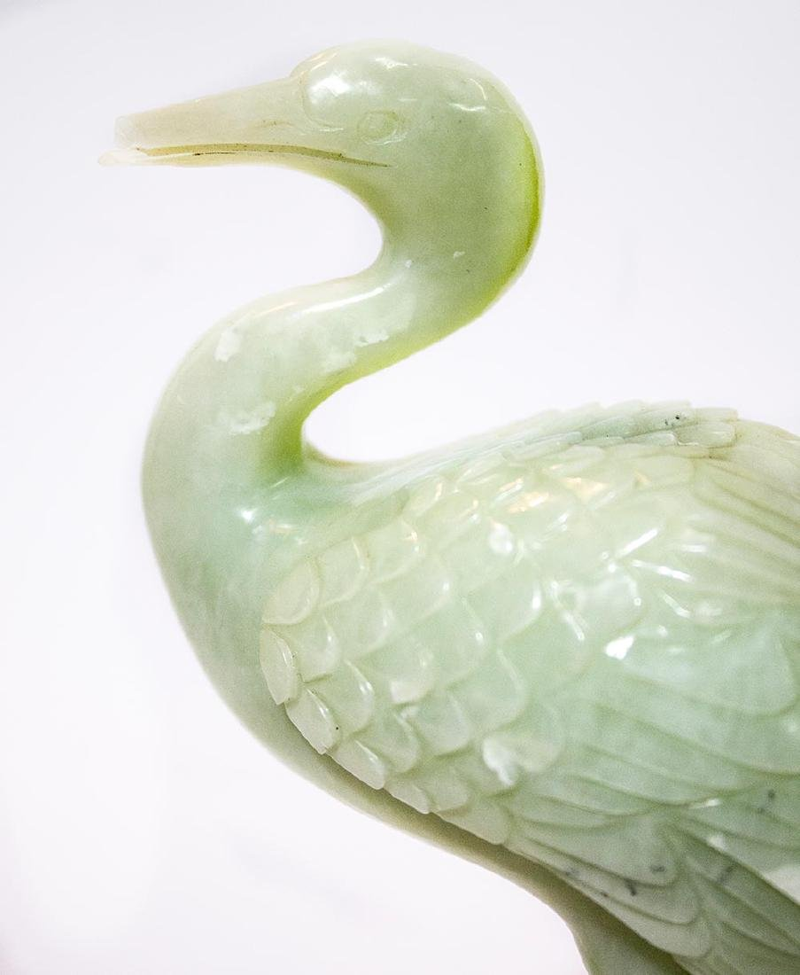 pair of carved Chinese Jade birds - 2