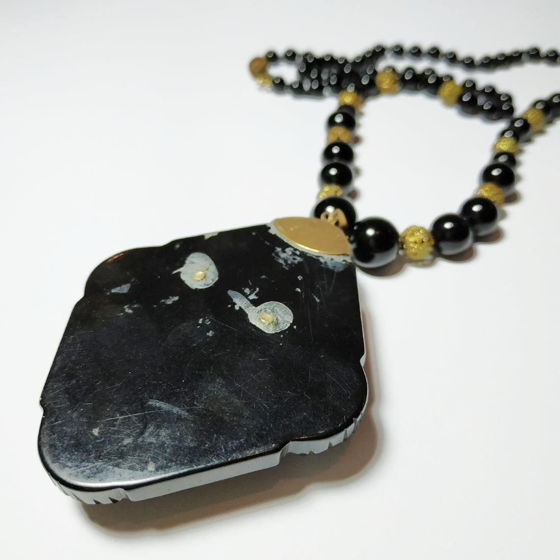 A ancient necklace and pendant - gold, Onyx, jet, bone - 4