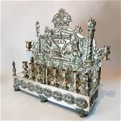 A large Hanukkah menorah  silver Polish design