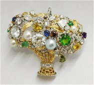 "18k gold ""Tutti Fruit"" colored diamond sapphire basket"