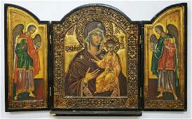 Hand made impressive colorful Russian icon - Triptych
