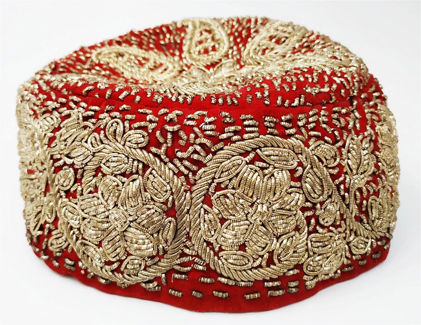 Indian wedding cap , silver thread embroidery