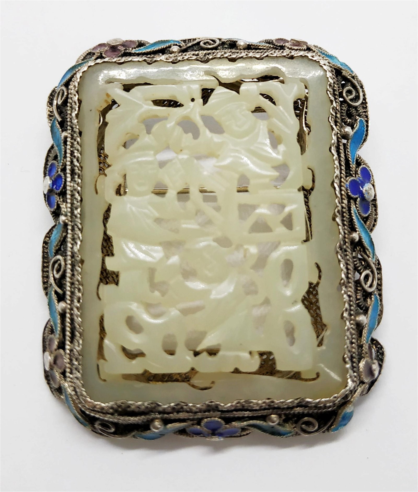 Chinese silver enamel and jade pin, 1940~