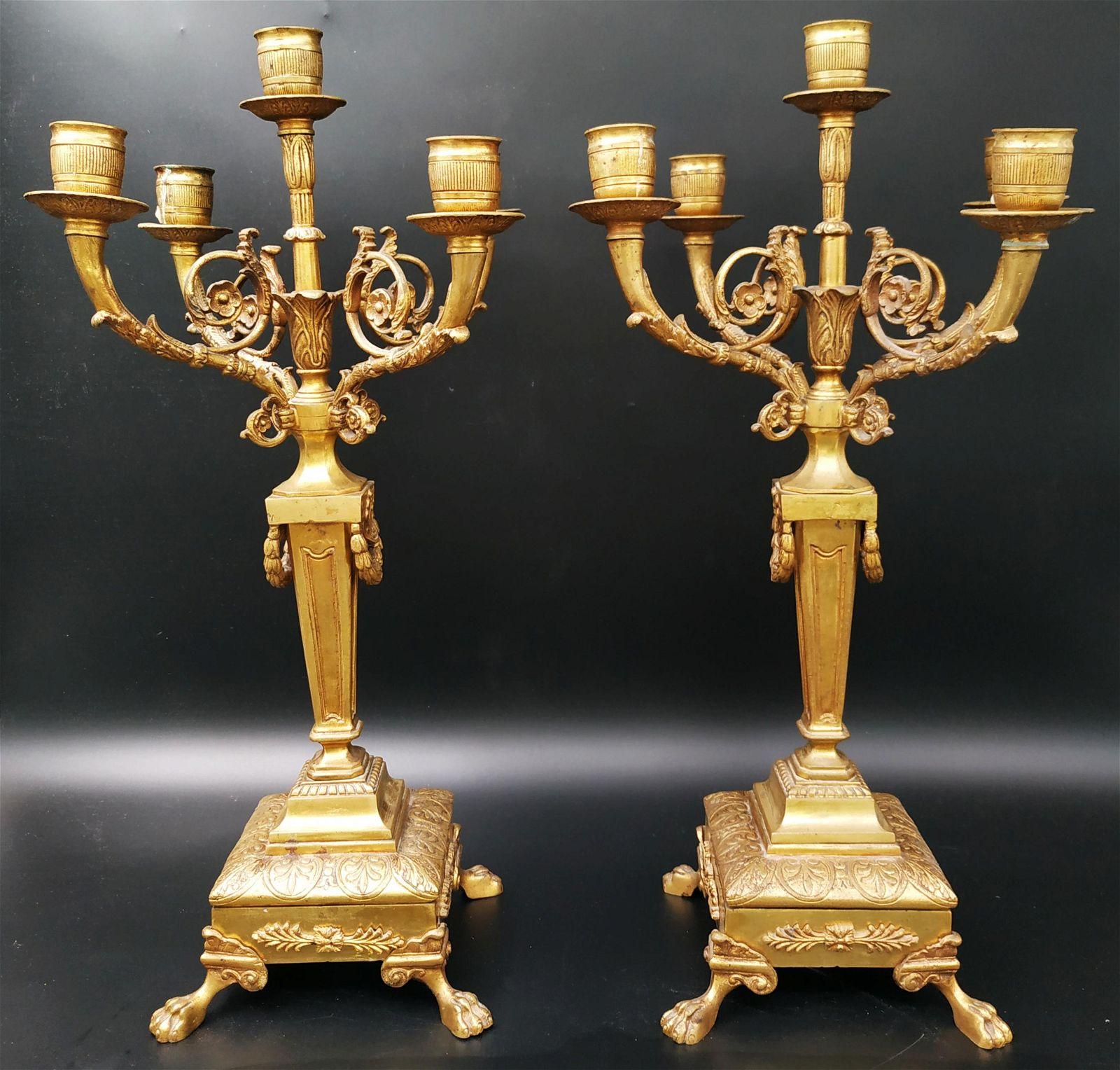 Pair of French bronze candelabra