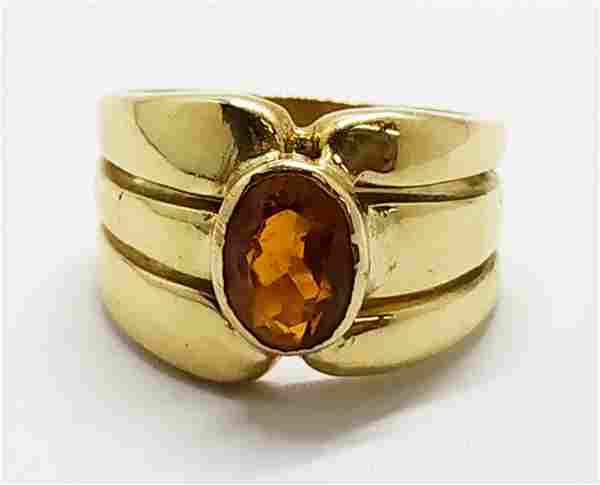 Gold ring set with a natural Citrine stone