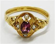 Victorian gold ring - Ruby and pearls