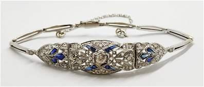 Antique platinum Art Deco diamond and sapphire bracelet