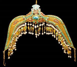 """Rare 22k gold """"Tillya Kosh"""" bird motif, Islamic Jewish"""