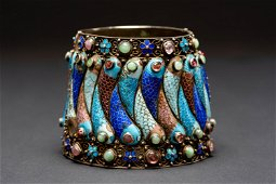 A rare gilded silver Enamel chinese cuff bracelet china