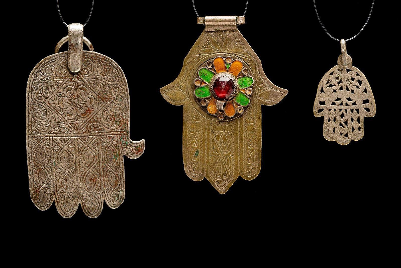 three silver Hamsot - Morocco 1880-1920 Jewish Islamic
