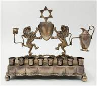 European silver Hanukkah menorah