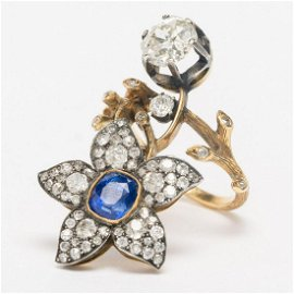Ring Signed Carl Faberge, Gold, Sapphire and Diamonds