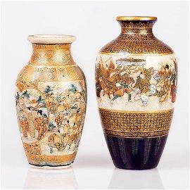 Lot of 2 fine small satsuma vases