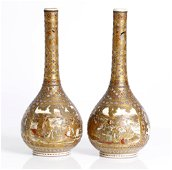 a pair of antique Japanese Satsuma vases, Meiji period