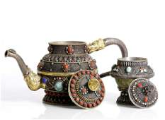 Tea set Chinese or Tibetan, gilded silver , jade and