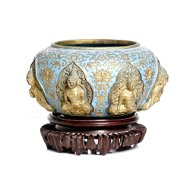 antique, 7 Buddha gold inlaid and enameled censer