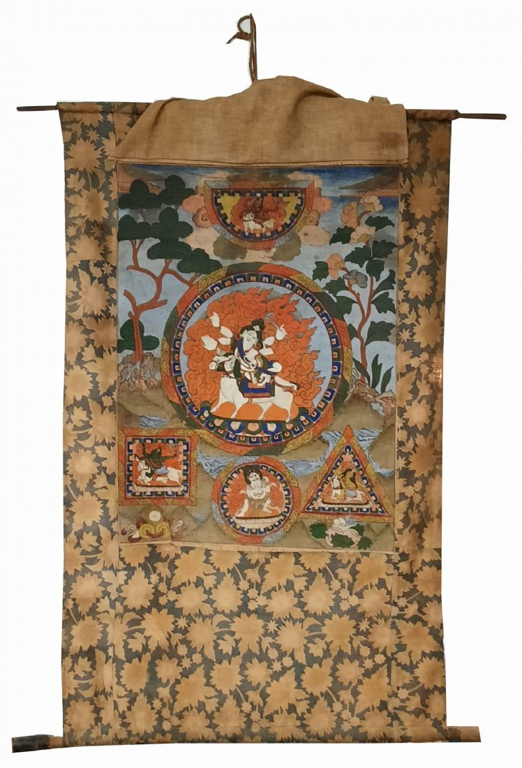 antique Sino-Tibetan, fine thangka . late 19th