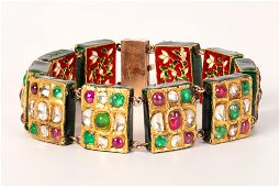 enameled gold and colored cabochons bracelet - India