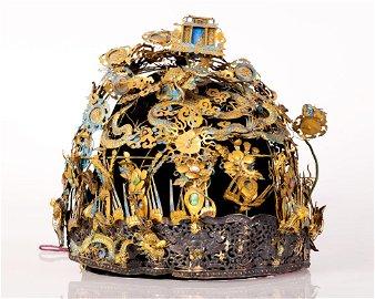"Chinese gilded silver, jade ""Feng Guan"" headdress"