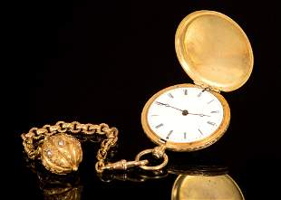 An Antique 18K Gold and Diamond Pocket Watch by Patek