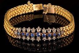 18k gold sapphire and diamond bracelet - circa 1880