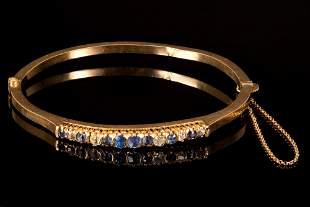 Victorian 18K Yellow Gold, Sapphire and Diamond Bangle