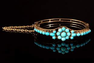 An Antique Victorian 18K Yellow Gold and Turquoise
