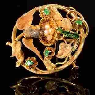 A Victorian 18K Yellow Gold, Demantoid Nature Brooch