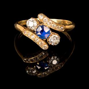 Victorian gold diamond and sapphire ring- signed